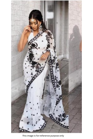 Bollywood model Black and white georgette saree