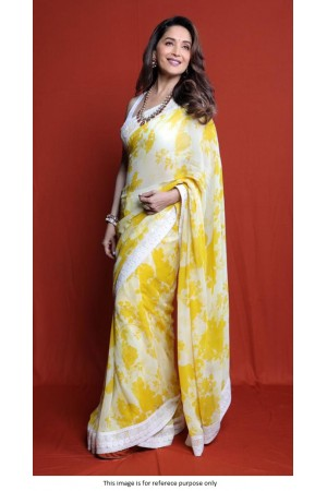 Bollywood Madhuri Dixit Yellow Floral saree