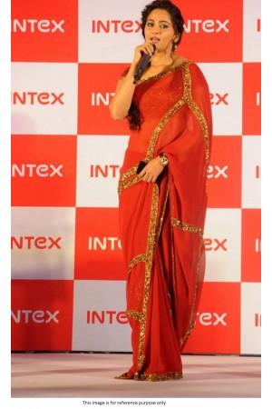 Kollywood Anushka Sharma Red georgette sequins saree