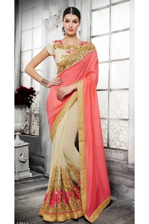 Party-wear-cream-pink-color-saree