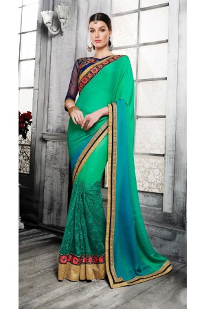 Party-wear-dual-shaded-green-color-saree
