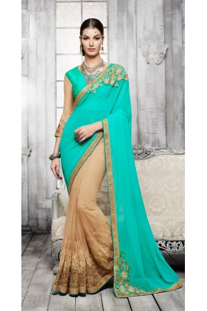 Party-wear-green-beige-color-saree