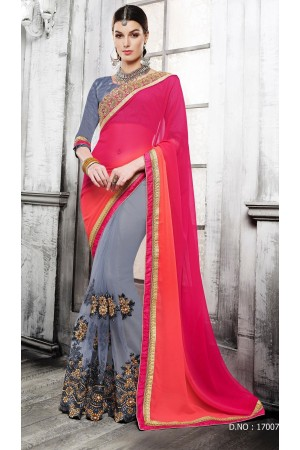 Party-wear-grey-pink-orange-color-saree