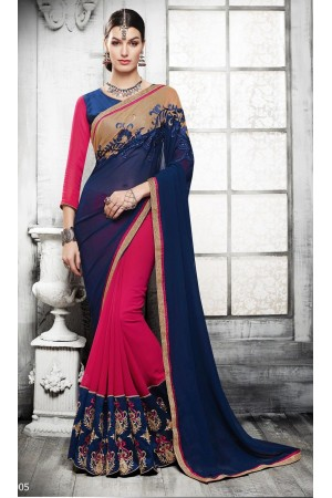 Party-wear-magenta-blue-color-saree