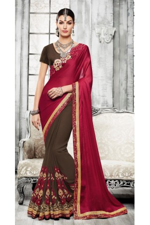 Party-wear-maroon-brown-color-saree