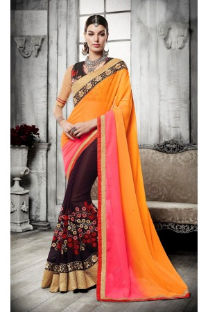 Party-wear-orange-pink-brown-color-saree