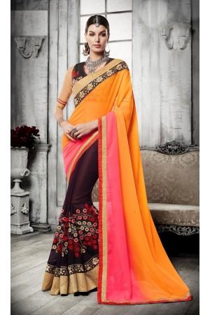 Party-wear-orange-pink-brown-color-saree