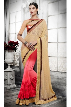 Party-wear-pink-cream-color-saree