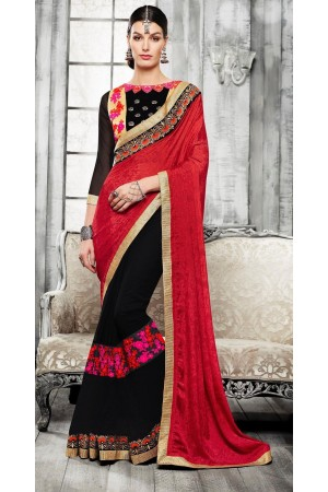Party-wear-red-black-5-color-saree