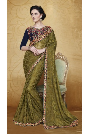 Party-wear-MossGreen-color-saree