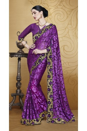 Party-wear-Violet-color-saree