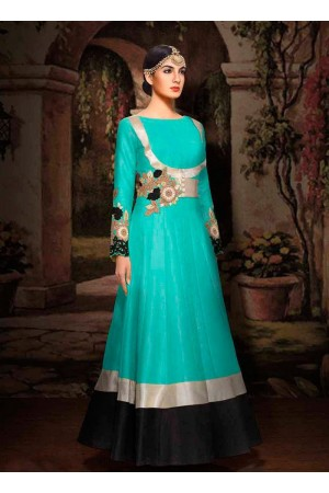 Blue color silk wedding lehenga choli