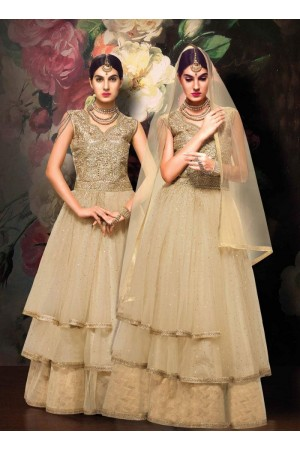 Cream color Net and Jacquard wedding wear anarkali