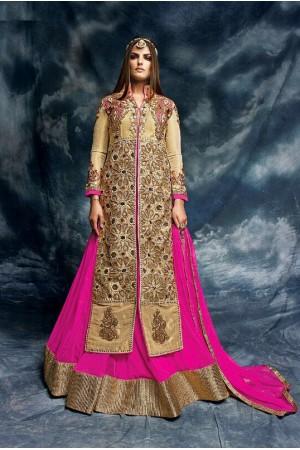 Rani pink and beige color lehenga style wedding wear anarkali