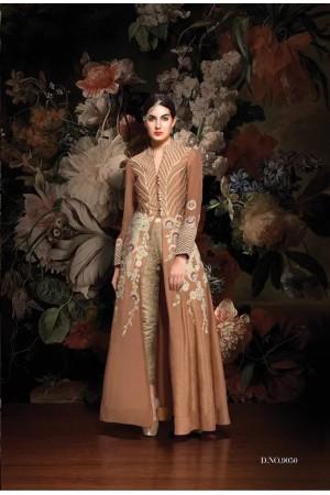 Beige color tafeta silk wedding wear anarkali suit