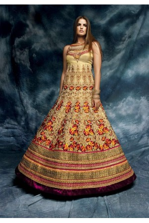 Beige color floral embroidered net and silk wedding wear anarkali suit