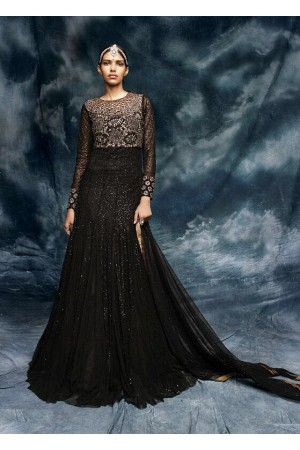 Black color embroidered net wedding wear anarkali suit