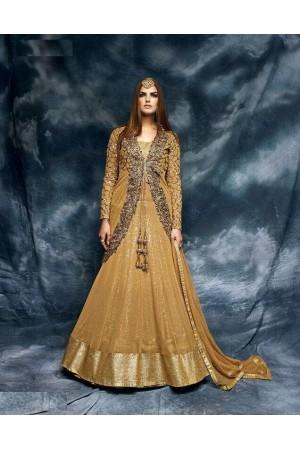Gold color sequins jacket style wedding wear suit