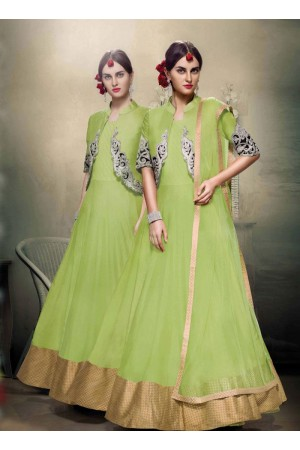 Green color Bangalori silk wedding wear anarkali suit