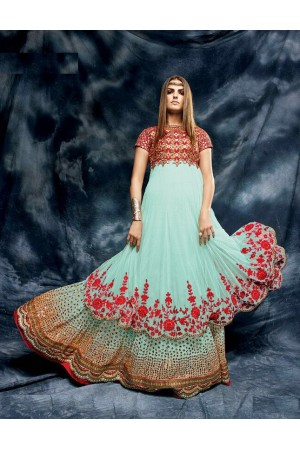 Skyblue and red color net and silk designer wedding anarkali suit