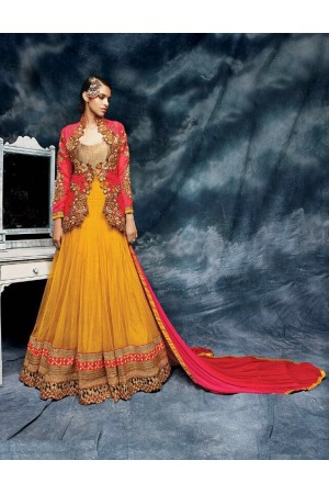 Yellow and red colorpure silk jacket style wedding wear anarkali