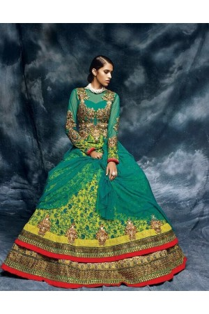 Teal green and yellow color net designer wedding wear anarkali
