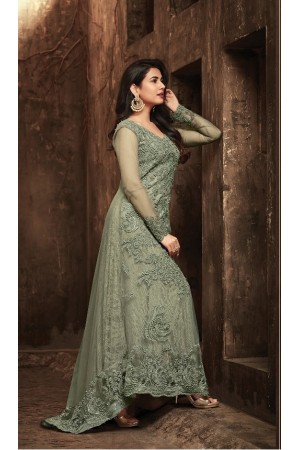 Sonal Chauhan Green Net party wear anarkali kameez