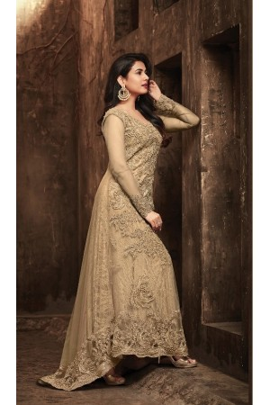 Sonal Chauhan Beige Net party wear anarkali kameez