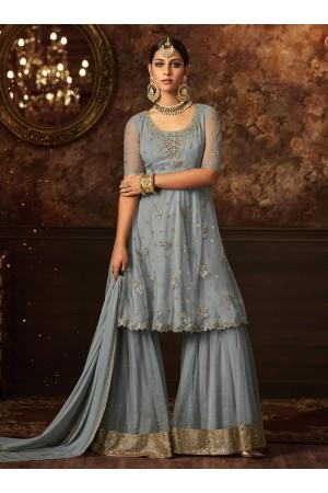 Grey color net wedding wear Sharara Style suit