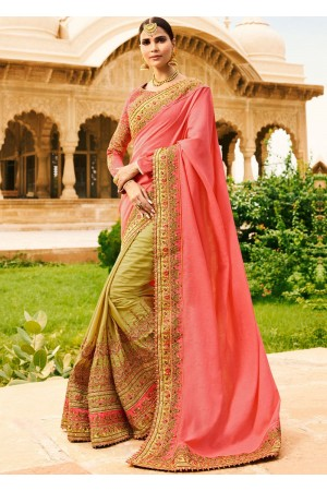 Beige pink half and half wedding saree 8008