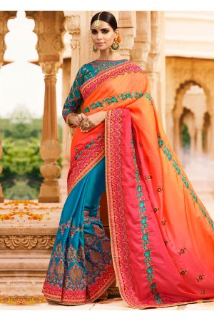 Blue orange art silk wedding saree 8009