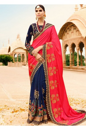 Gajri navy blue half and half wedding saree 8006