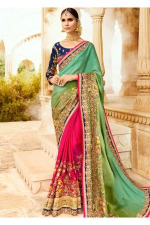 Green pink blue wedding saree 8007