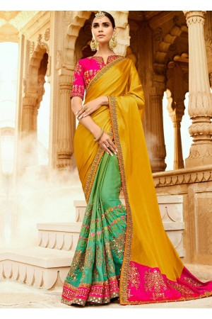 Mustard yellow pink pista green art silk wedding saree 8002