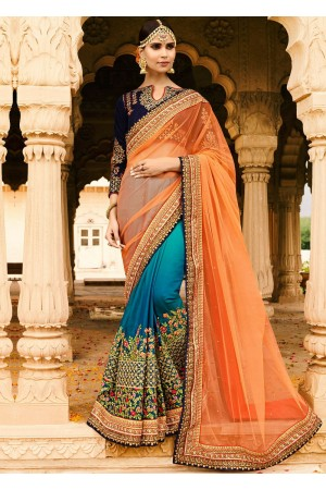 Orange blue half and half wedding saree 8003