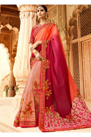 Peach pink wedding saree 8004