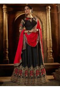 Black raw silk wedding lehenga choli
