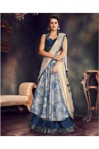 Blue and grey brocade wedding lehenga choli