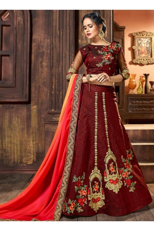 Brown raw silk wedding lehenga choli