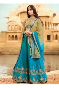 Firozi color barfi silk wedding lehenga choli
