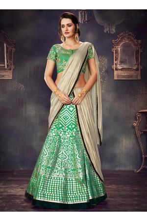 Green dupion wedding lehenga choli