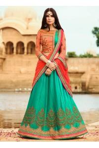 Green color silk wedding lehenga choli