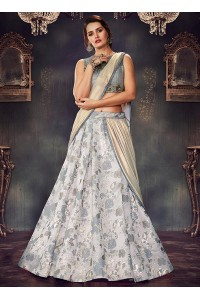 Grey brocade wedding lehenga choli