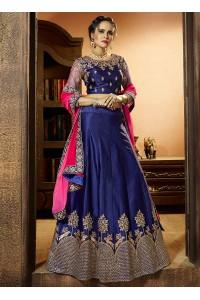 Royal blue satin silk wedding lehenga choli