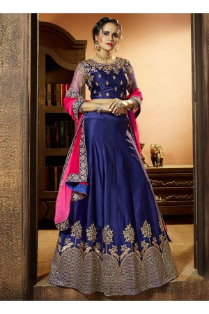 Royal blue satin silk wedding lehenga choli