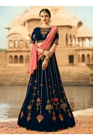 Navy blue and pink velvet wedding lehenga choli