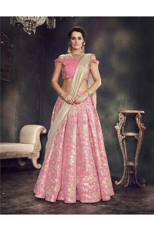 Pink brocade wedding lehenga choli