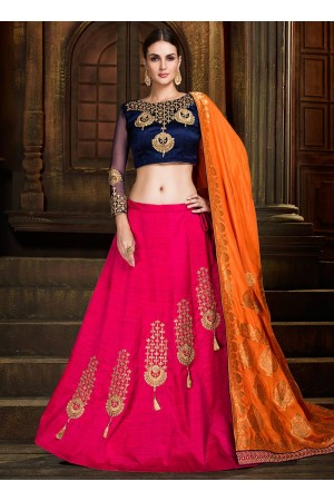 Pink and orange silk wedding lehenga choli