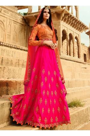 Rani and Dark peach Banarasi silk wedding lehenga Choli