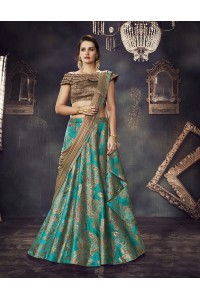 Turquoise brocade wedding lehenga choli